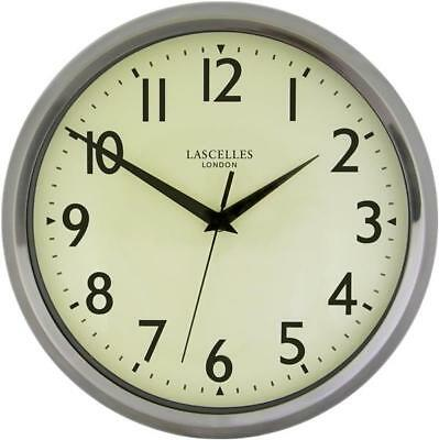 Roger Lascelles Deco Lars Chrome Wall Clock with sweep seconds hand BRAND NEW