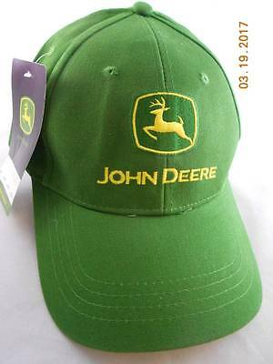 John Deere Green Cotton Twill Hat Ball Cap One Size New Ships Fast!