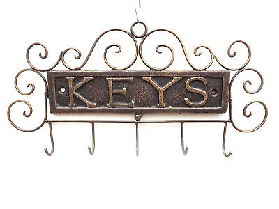 5 Key Hook Metal Wall Holder Rack Gold Antique Effect Cast Iron Heavey Wire New
