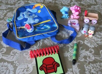 lot of five blues clues figures notebook with crayon and small blue