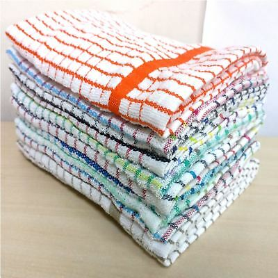 Pack Of 10 Large Jumbo Check Multi Terry Cotton Tea Towel Set Kitchen Dish Cloth