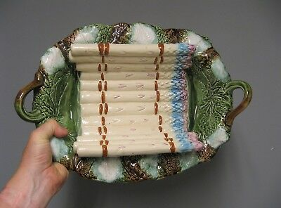 Ancien grand plat à asperge en barbotine. French antique pottery.