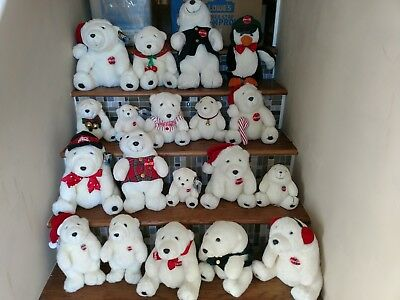 Giant Lot of 19 Coca Cola Polar Bear Christmas Plush and Penguin 1990''s...