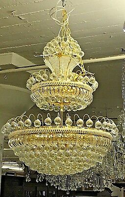 Italian Three Tier Golden Genuine Crystal Chandelier 3ft Tall