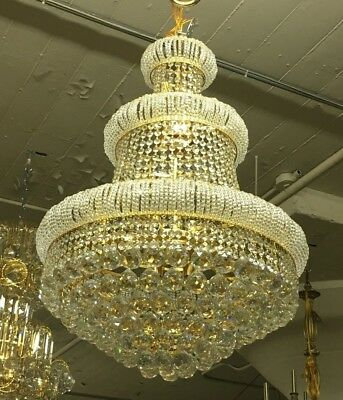 "Three Tier Golden Sparkling Genuine Crystal Chandelier 33"" Tall"