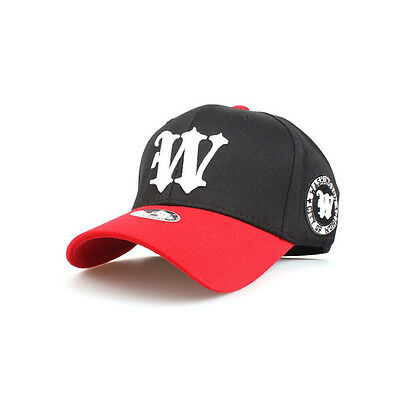 Unisex Mens Womens Washington Initial W Flexfit Hats Baseball Cap Black/White