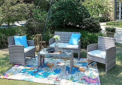 Rattan Lounger Set Coffee Table 2 Chair