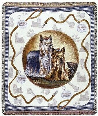"""YORKIE Yorkshire Terrier Tapestry Throw Blanket Dogs 50x60"""" Made in USA New"""