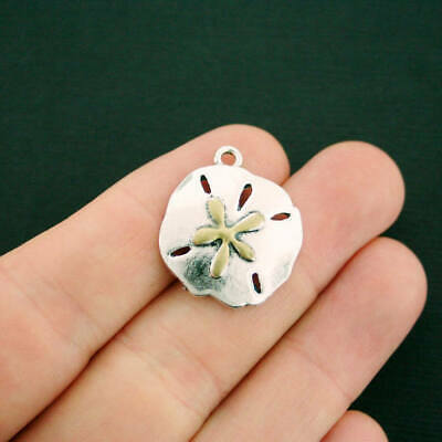 2 Sand Dollar Charms Antique Silver Tone and Gold Enamel Large Size - SC7061