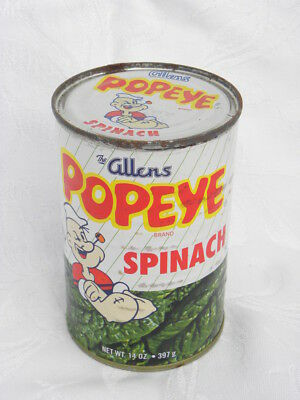 "Vintage 14 oz. Unopened Can of ""The Allens Popeye Brand Spinach"""