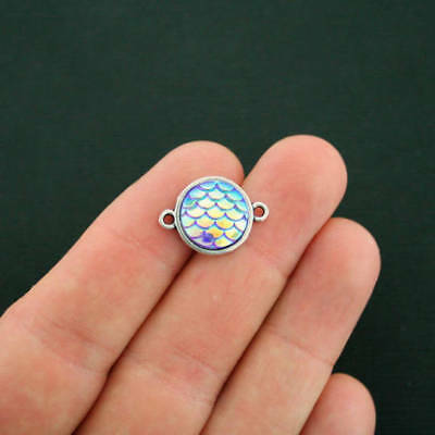 4 Mermaid Connector Charms Pink Scale Antique Silver Tone 20mm x 14mm HM044