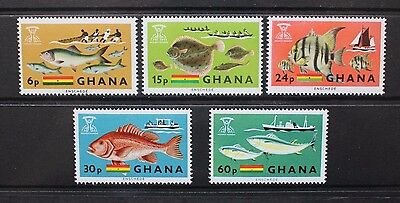 GHANA 1966 Freedom From Hunger Fishes. Set of 5. Mint Never Hinged. SG420/424.