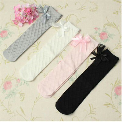 Toddlers Girls Cotton Socks Tights School Knee High Stockings Bow Warmer DSUK