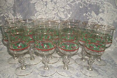 Lot Of 16 Matching Arby's Promo Christmas Holly Berry Bow Stem Goblets Gold Rim