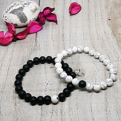 Distance Bracelet Couple Natural Stone Friendship Set,Charm Beaded Gift Bag