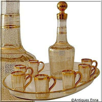 1870 Rare French Baccarat Gold Crystal Liquor Service Decanter, Cups, Tray