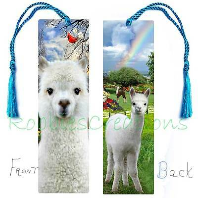 "ALPACA Llama BOOKMARK 6"" LARGE w/Tassel White Baby Animal Book Card ART figurine"