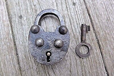 Antique vintage padlock with one key, working order, collector, hobby 25-07
