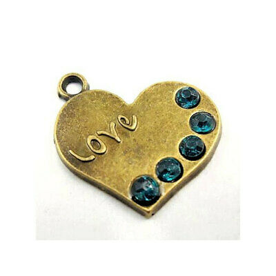 2 Love Heart Charms with 5 Inlaid CZ Stones Antique Bronze Tone - BC321