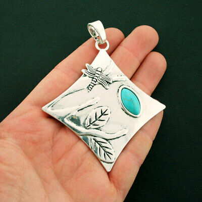 Dragonfly Pendant Charm Antique Silver Tone with Faux Turquoise Stone - SC6520