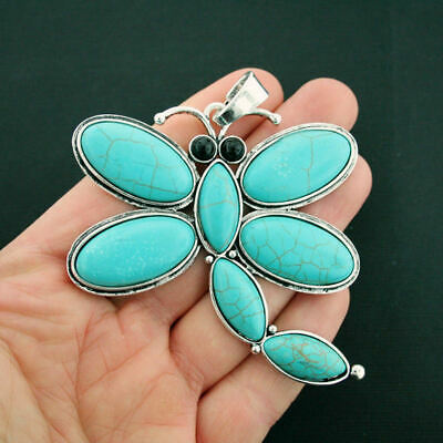 Dragonfly Pendant Charms Antique Silver Tone With Faux Turquoise Stones - SC6833