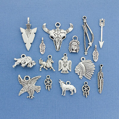 db4e92bae2 NATIVE AMERICAN CHARM Collection Deluxe Antique Silver Tone 16 Charms -  COL129
