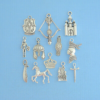 Medieval Charm Collection Antique Silver Tone Medieval Theme 12 Charms - COL293