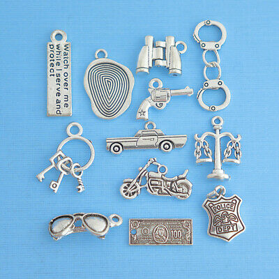 Police Charm Collection Antique Silver Tone 11 Different Charms - COL079