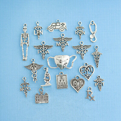 Medical Deluxe Collection Antique Silver Tone 12 Different Charms - COL300