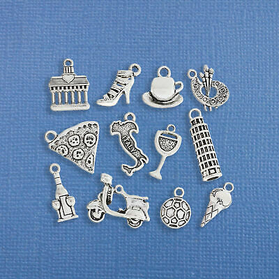 Italy Charm Collection Antique Silver Tone 9 Different Charms - COL185