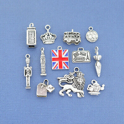 London Charm Collection Antique Silver Tone The Ultimate 12 Charms - COL194