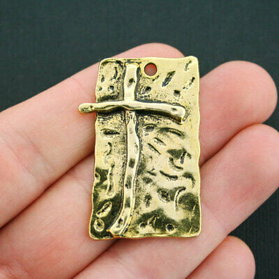 Large Cross Pendant Antique Gold Tone Just Beautiful - GC601