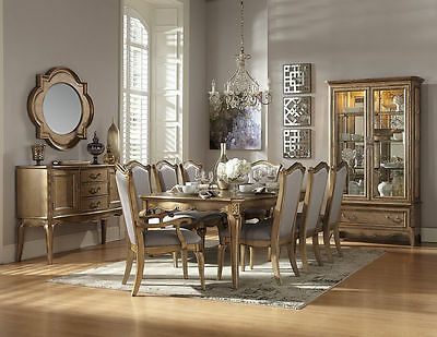 STATELY CHAMPAGNE GOLD Formal Dining Table Chairs Dining ...