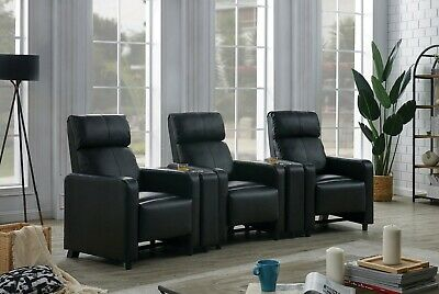 Black Leatherette Three (3) Recliner Reclining Theater Seats Consoles Furniture