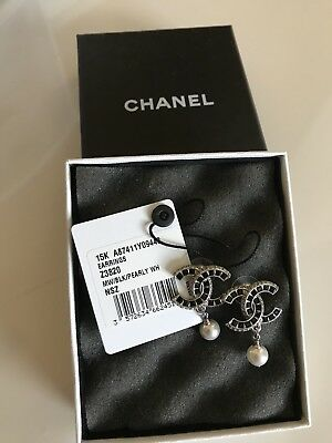 Chanel Cc Black & Crystal Silver With Pearl Dangle Earrings