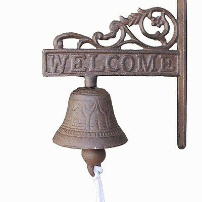 Vintage Rustic Cast Iron WELCOME Sign Ring Bell Country Farmhouse Wall Decor