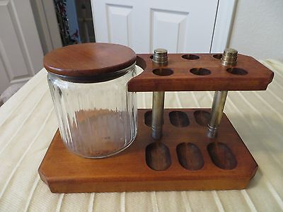 Smoking Pipe Stand And Humidor Jar Vintage Estate Item Unmarked Holds 6 Pipes