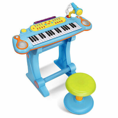 NEW Kids Electronic Keyboard 37 Key Piano Musical Toy w/ Microphone & Stool Blue
