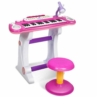 NEW Kids Electronic Keyboard 37 Key Piano Musical Toy w/ Microphone & Stool Pink