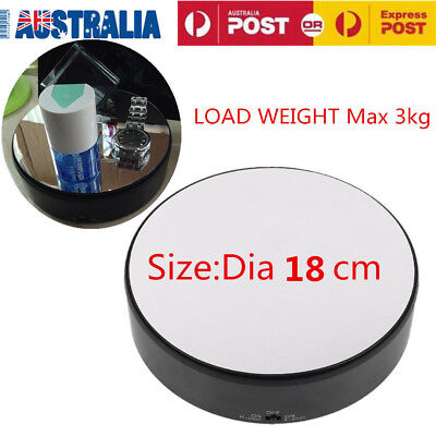 360° Rotating Rotary Display Stand 20cm Top Mirror Glass Turntable Battery Power