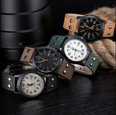 Men's Leather Band Watches Military Cool Analog Quartz Date Watch WristWatch