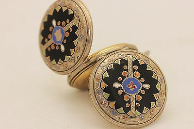 Antique Original Silver Enamel Ottoman Islamic Pocket Watch