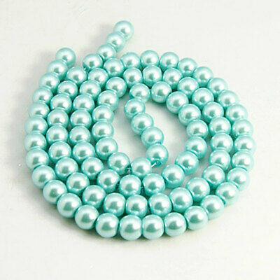 BD369 140 Glass Beads 6mm Faux Steel Blue Pearl Strand