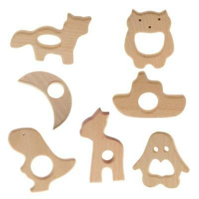 7Pcs Handmade Natural Wood Teether Teething Ring Baby Toys DIY Wooden Craft