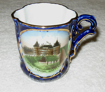 Antique/Vintage German Blue China Lithograph Cup/Mug State Capitol Albany NY, 3""