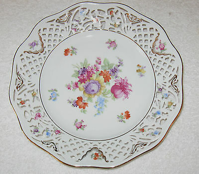 "Antique/Vintage German Decorative China Schumann Reticulated Bowl 9 1/2"" x 1 1/2"