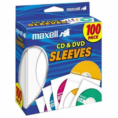 Maxell 190133 Cd & Dvd Sleeves White 100Pk (Paper), 3pkts for 300 sleeves