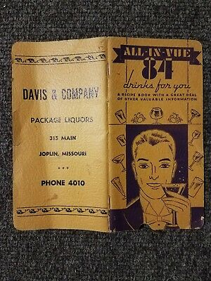 ALL-IN-VUE 84 DRINKS FOR YOU Rare Coctail Recipe Pamphlet Davis & Co Joplin MO