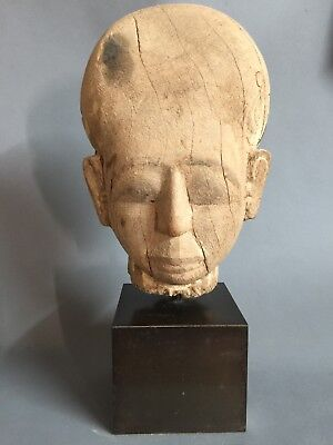 Large Ancient Egyptian Wood Head, Late period 716-30BC, Ex Sothebys