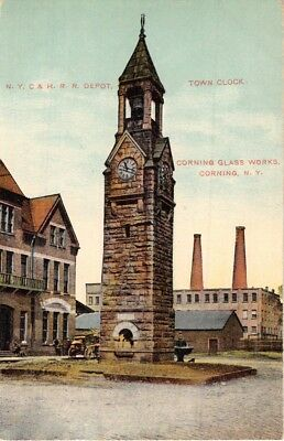 Corning New York Ny Central-Hudson River Railroad Depot-Town Clock Postcard 1911